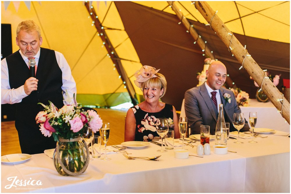 father of the bride gives speech in the yorkshire tipi
