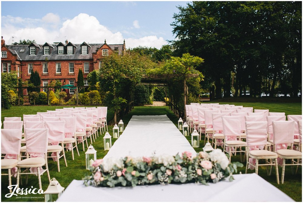 outdoor ceremony set up at nunsmere hall in cheshire