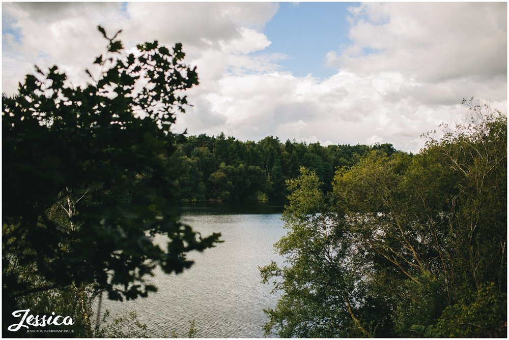 a view of the lake at the back of nunsmere hall - cheshire wedding photographer