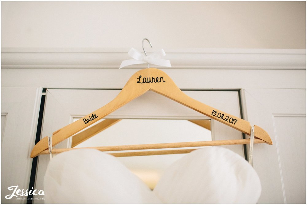 brides dress on personalised hanger