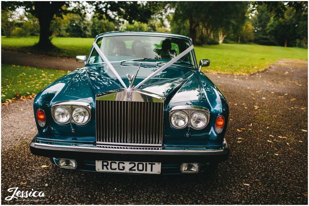 wedding car arrives at ness gardens - wirral wedding