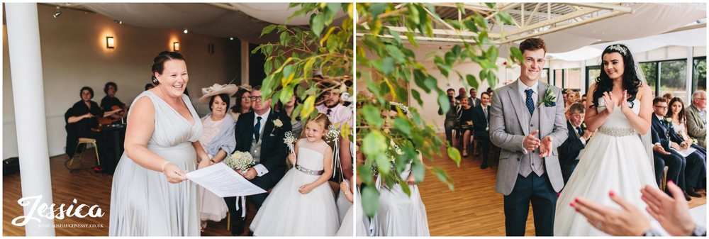 bridesmaid gives emotional reading during the wedding ceremony