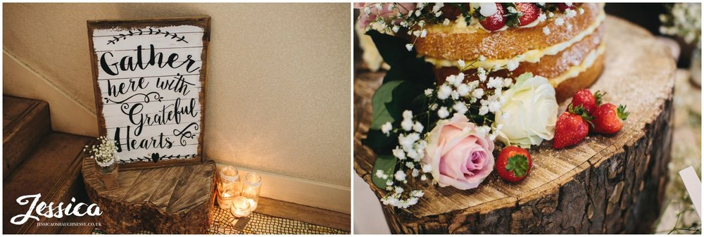 wedding sign & cake