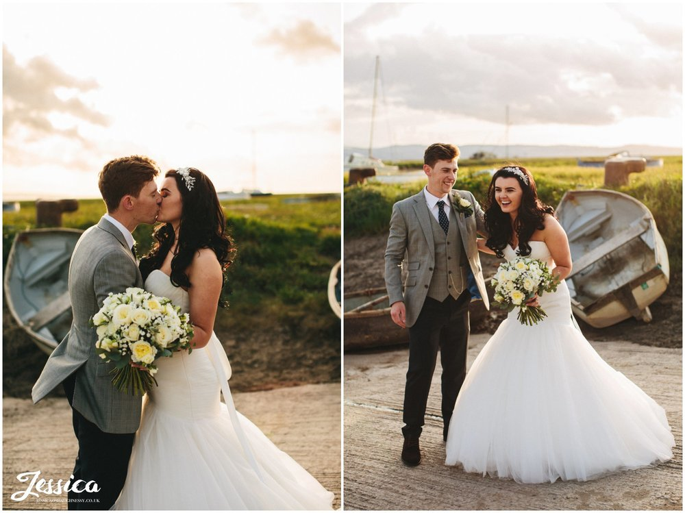 couple kissing in the golden sun light, wirral wedding