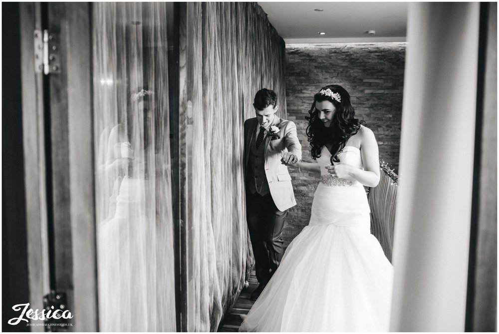 bride & groom announced in - wirral wedding photography
