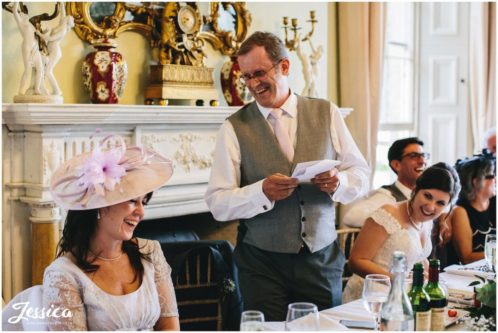 father of the bride gives speech at prestwold hall wedding