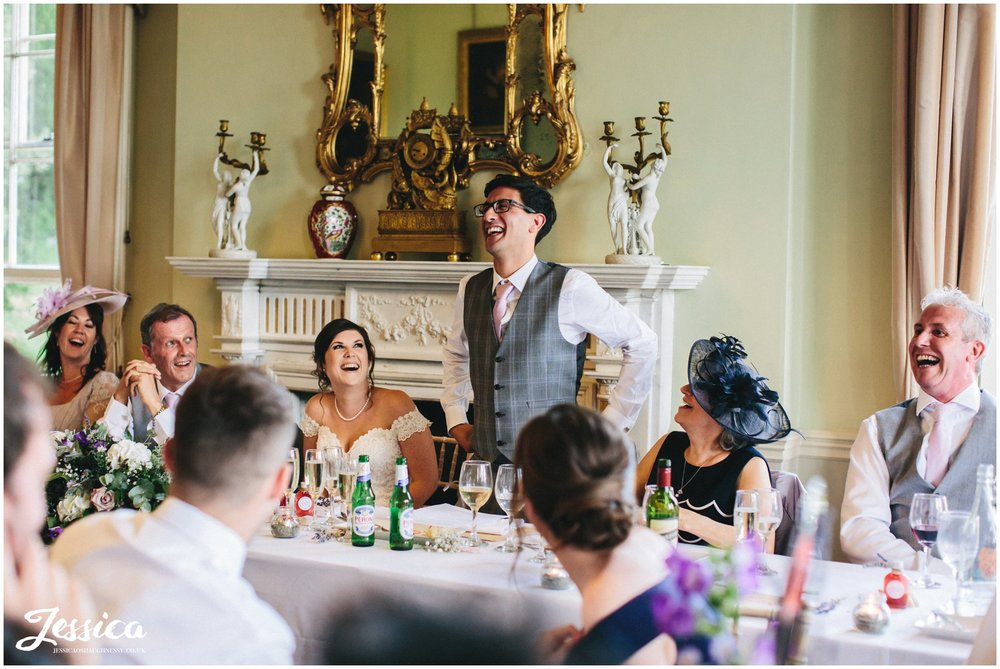 groom gives his wedding speech at prestwold hall