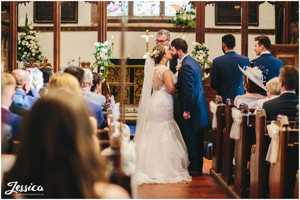 the first kiss at St. Peter's Church in cheshire