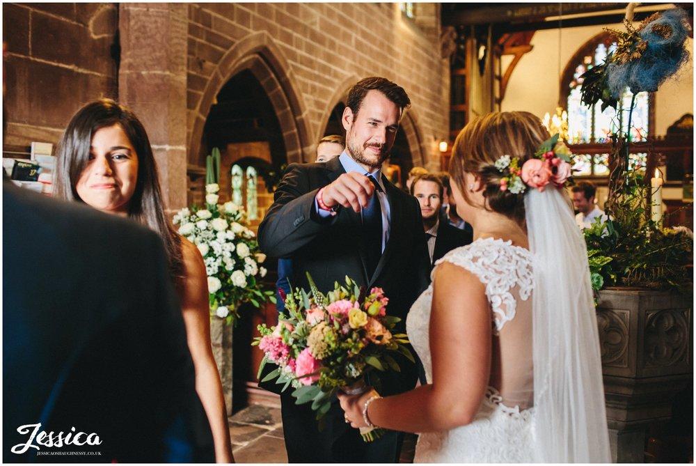 groom congratulates bride after her cheshire wedding ceremony