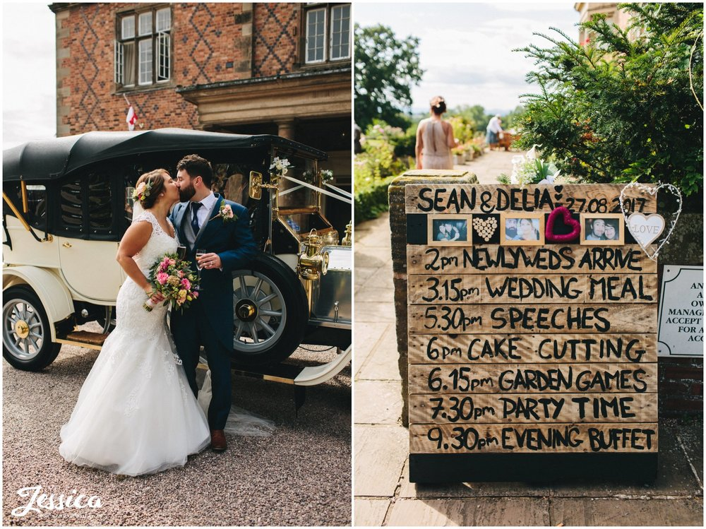 bride & groom arrive at willington hall for their wedding reception