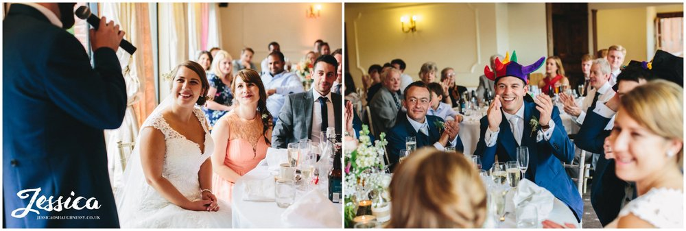 bride admires groom whilst he gives his speech