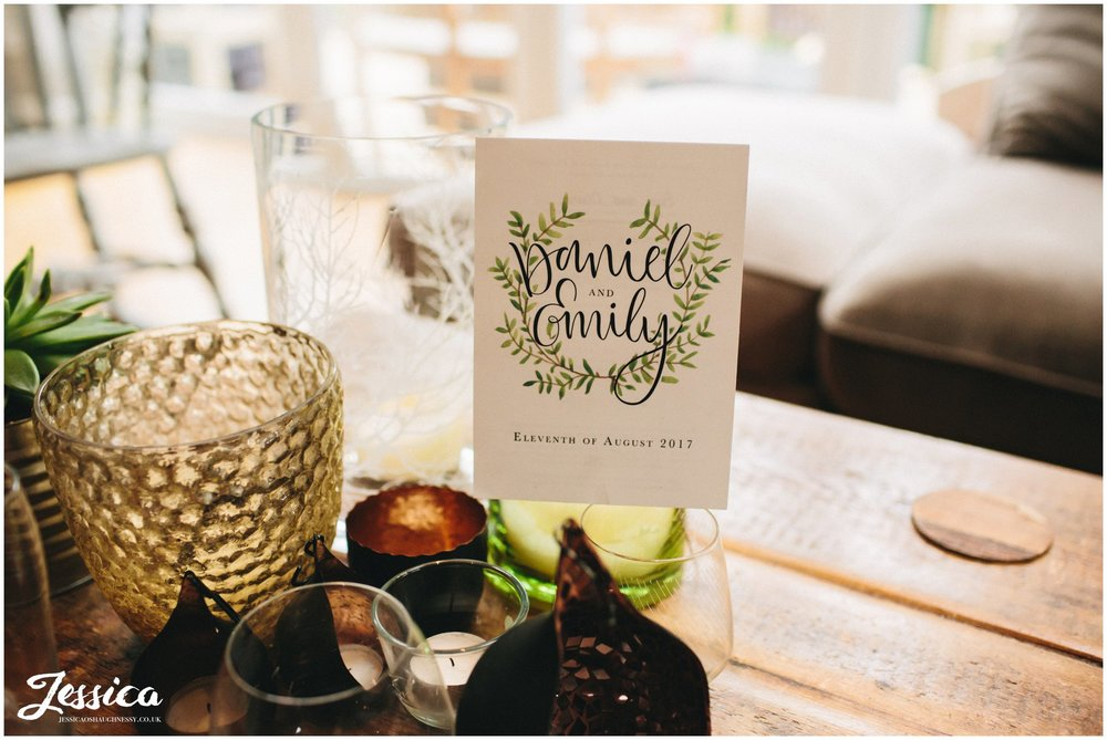 botanical wedding invite in the grooms house
