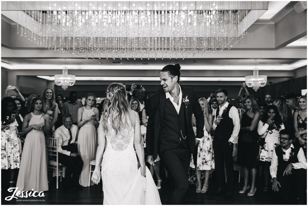 newly wed's share their first dance together at their cheshire wedding