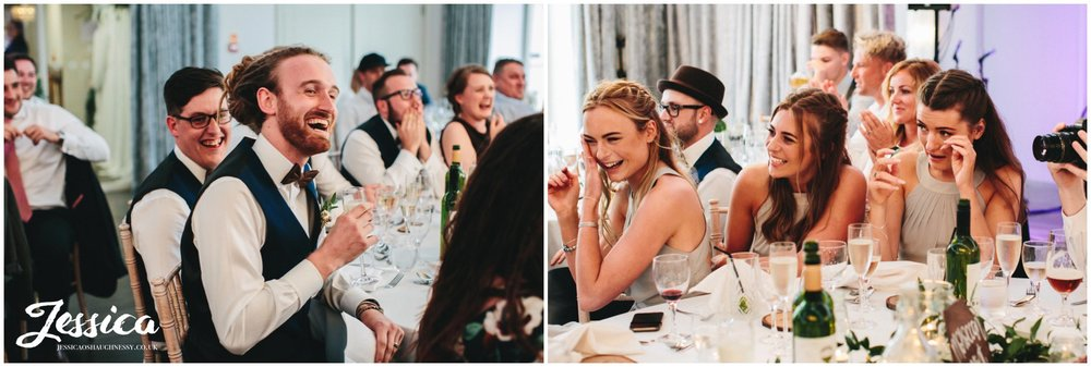merrydale manor in cheshire - bridesmaids crying during the speeches