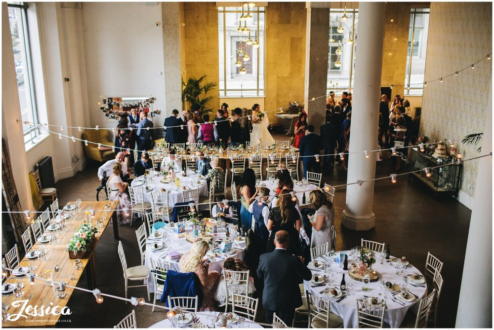 arial view of oh me oh my wedding reception - liverpool wedding photographer
