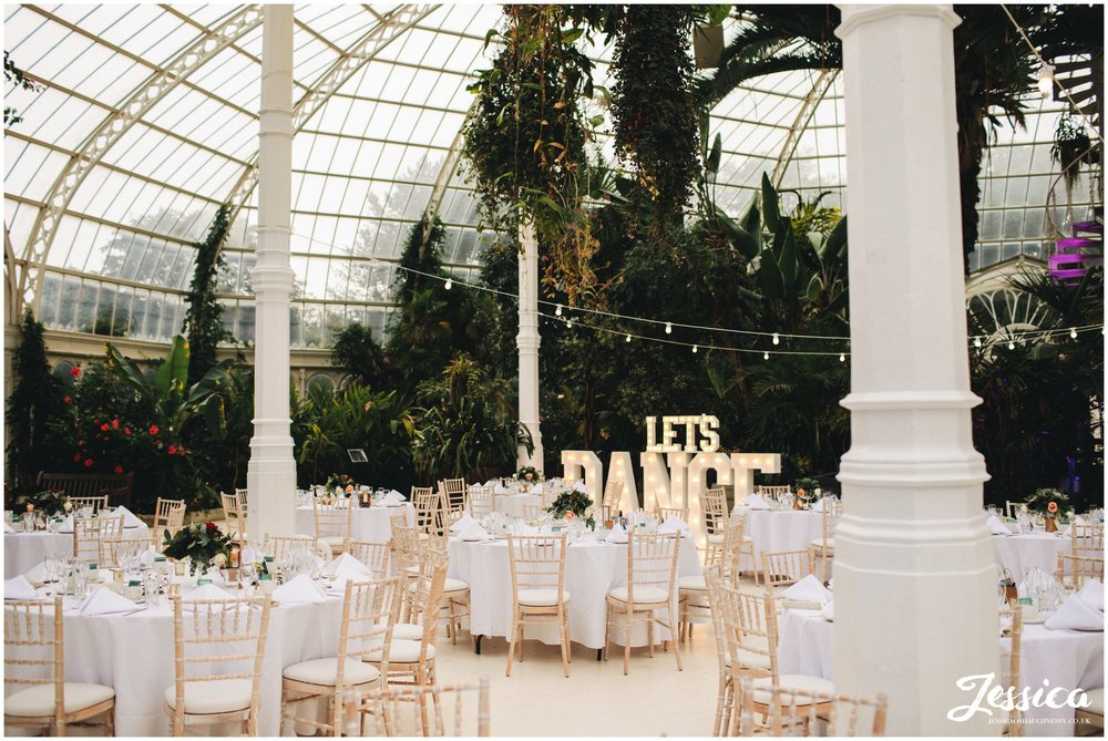 sefton palm house in liverpool laid out for wedding breakfast