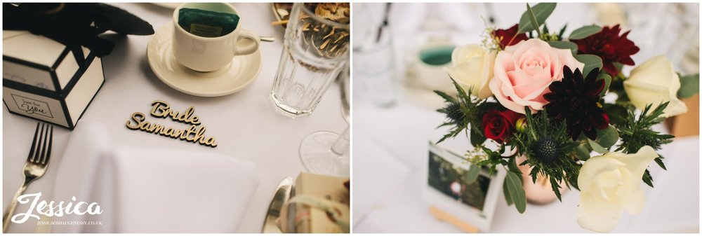 wedding details decorate tables