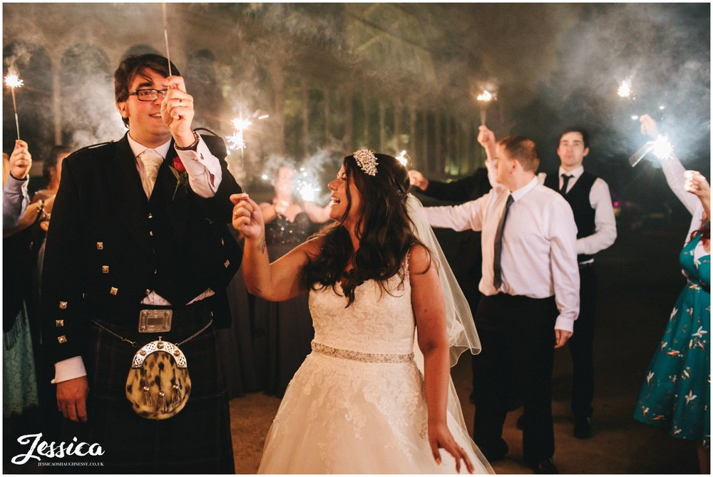 newly wed's have sparkler exit from their liverpool wedding