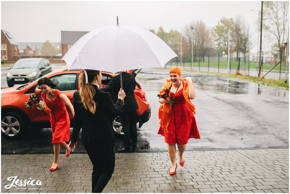 bridesmaids arrive at gorton monastery in manchester