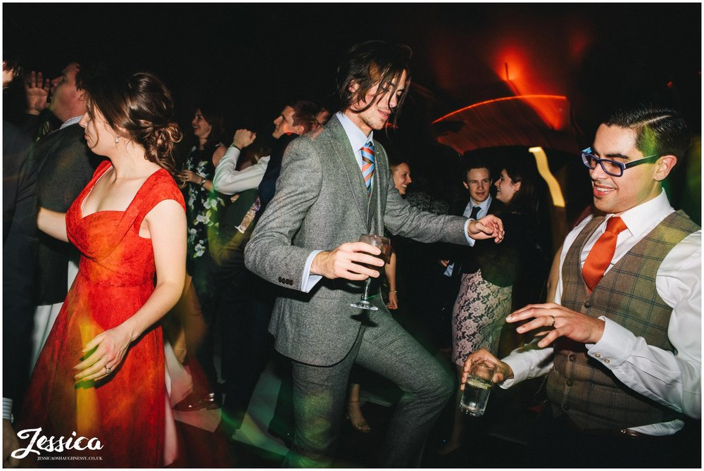 wedding guests do silly dance moves in manchester