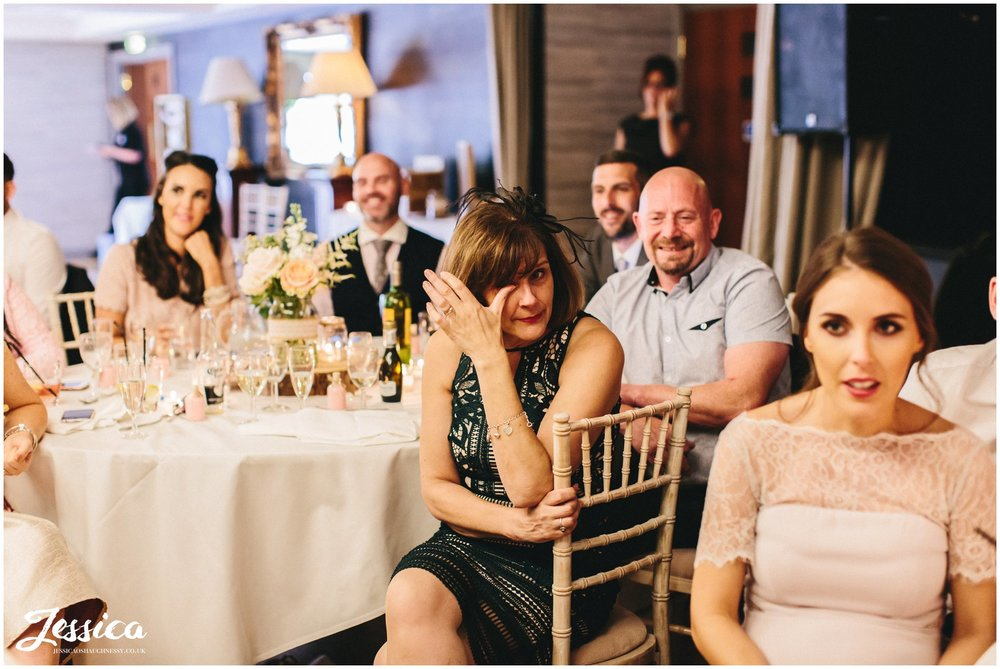 guests get emotional during the speeches at a wirral wedding