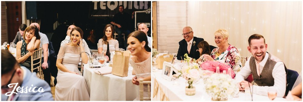 top table laugh during the best man's speech
