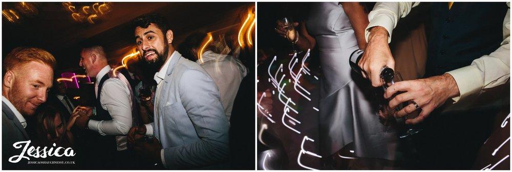 guests poor champagne on the dancefloor