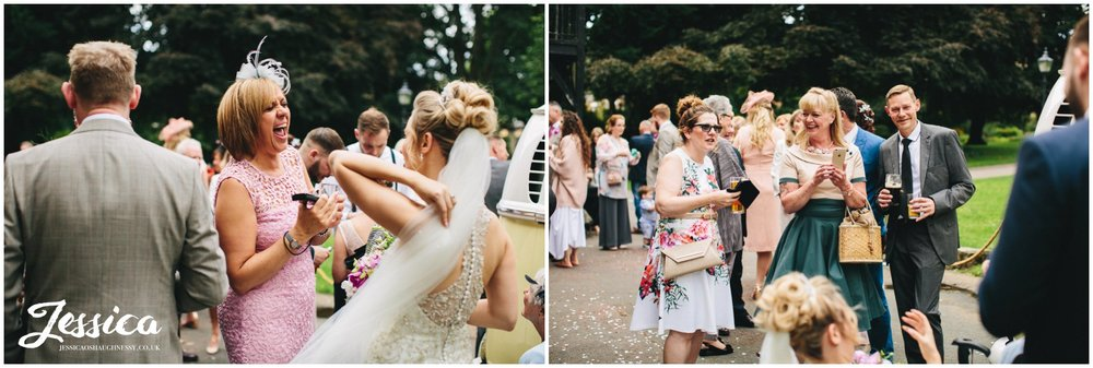wedding guests enjoy the good weather at the hospitium in york