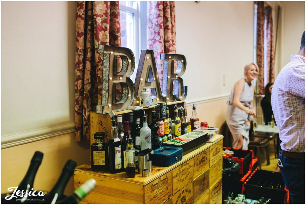 DIY style bar set up in a village hall in manchester
