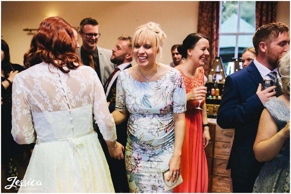 friends of the bride congratulate her