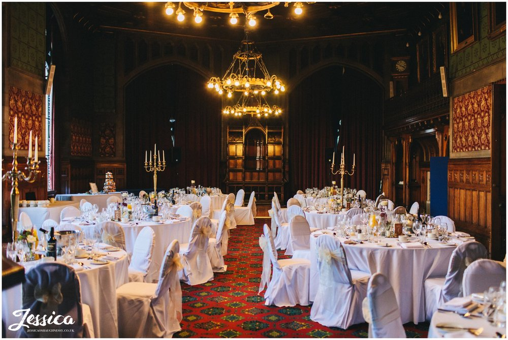 manchester town hall room laid out for wedding breakfast