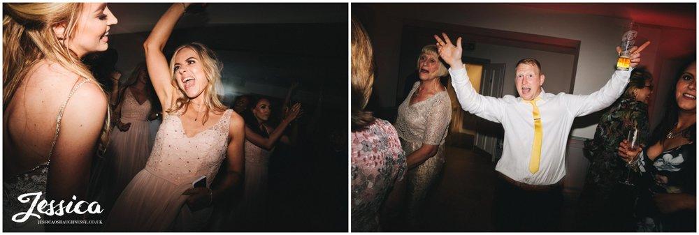 wedding guests enjoy the wedding band at tyn dwr hall