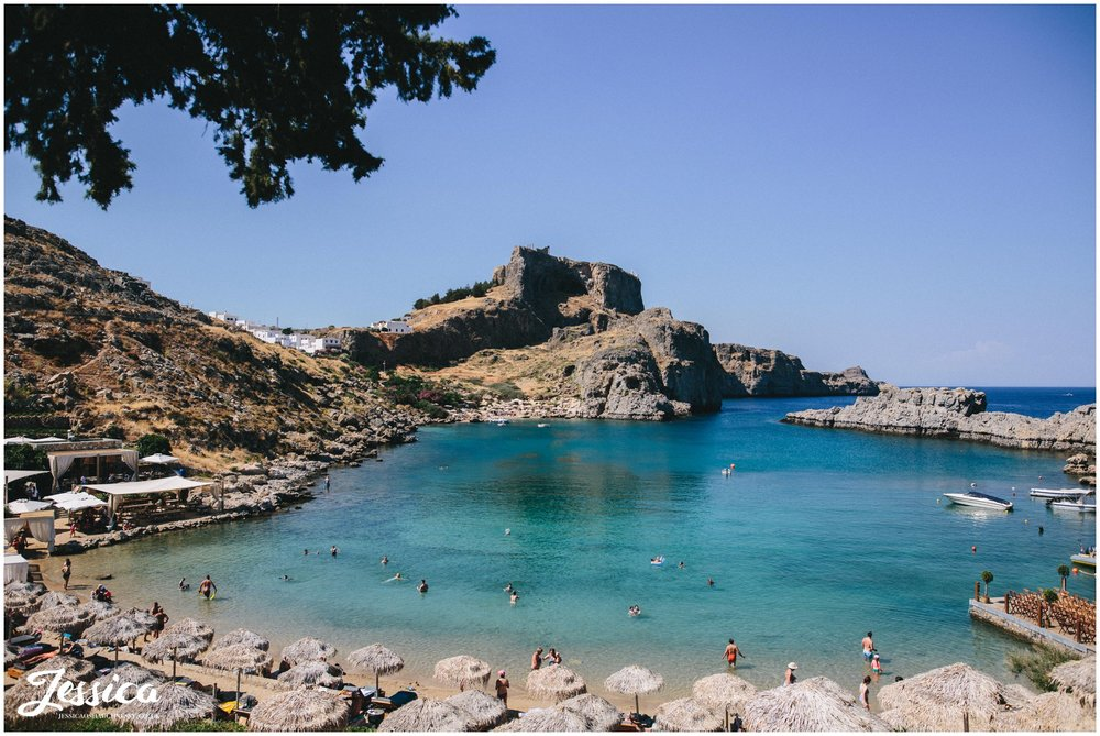 a view of st paul's bay in rhodes, greece