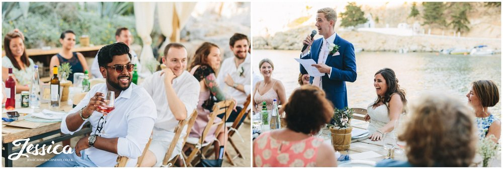 wedding guests laughing during the groom's speech