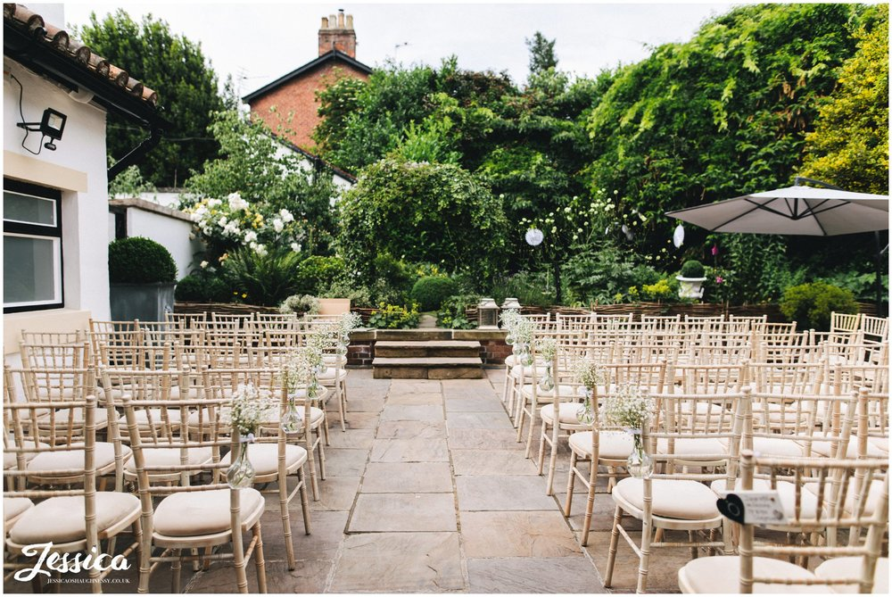 the roof garden is decorated ready for the ceremony