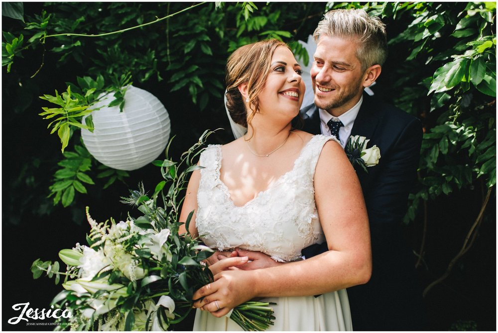 the newly wed's embrace in the secret garden at belle epoque, knutsford