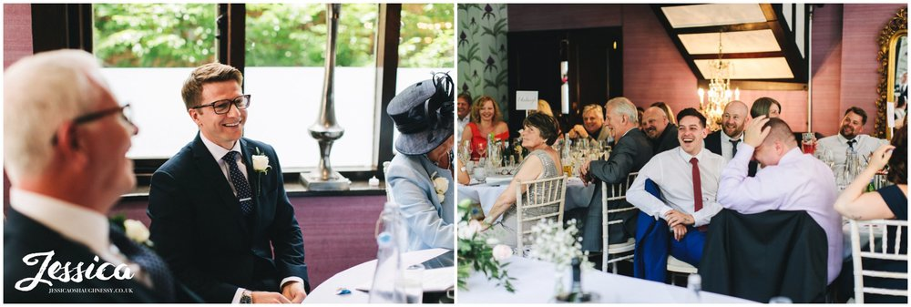 family & friends of the couple enjoy the groom's speech