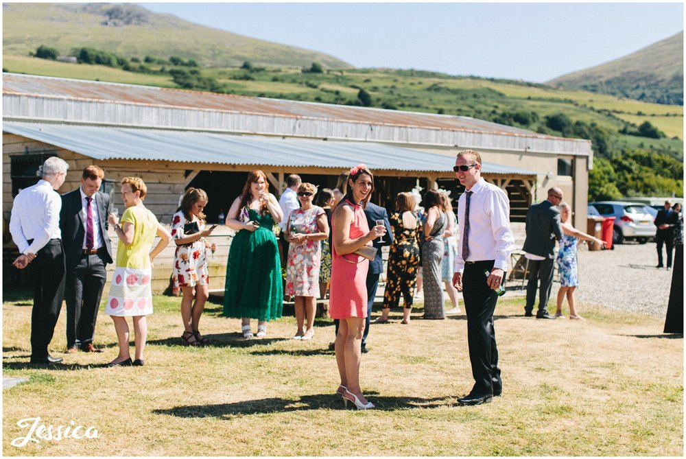 wedding guests make the most of the good weather at bach wen farm in Caernarfon