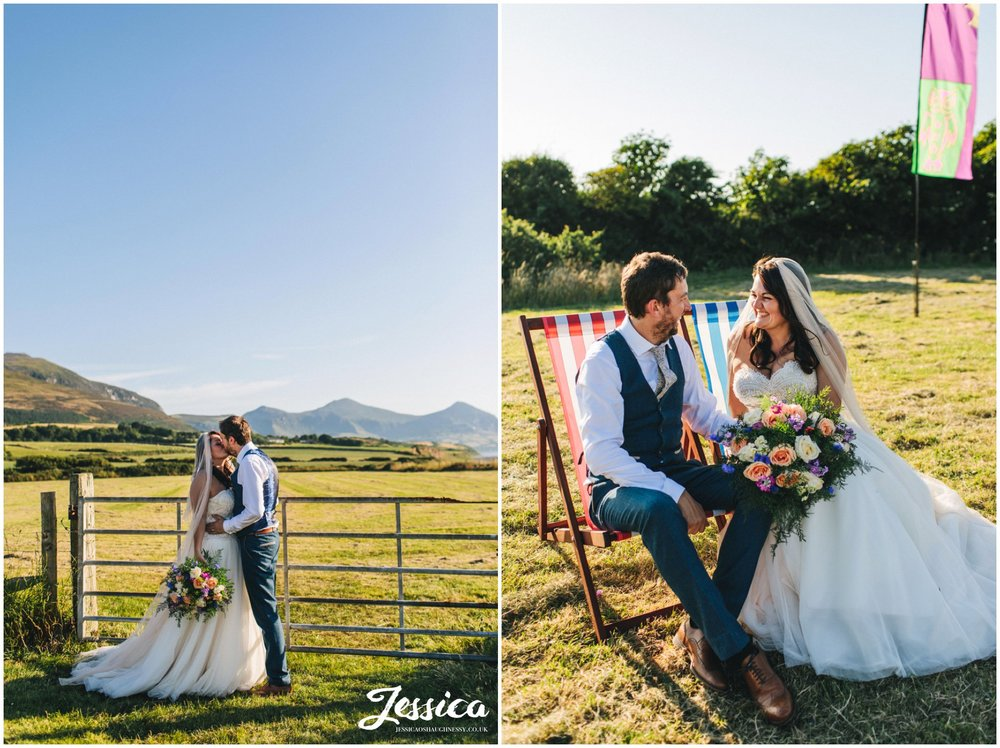 the new couple enjoy the sun at their north wales wedding in Caernarfon
