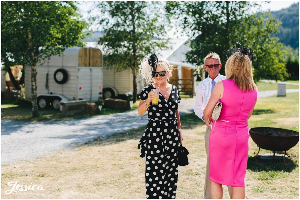 guests drink homemade lemonade at the north wales wedding