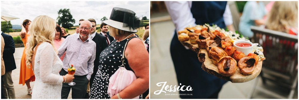 canapes are served at the north wales wedding ceremony