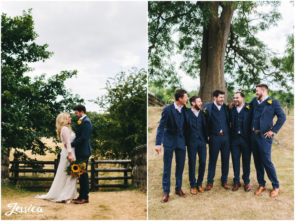 groomsmen laugh together in tower hill barns grounds