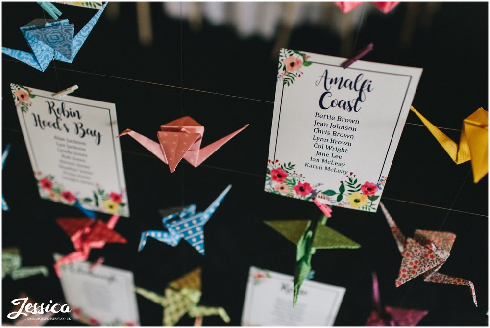 paper cranes are used for the table plan