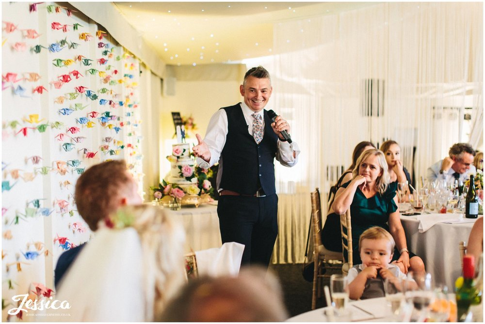 the best man gives his speech at combermere abbey