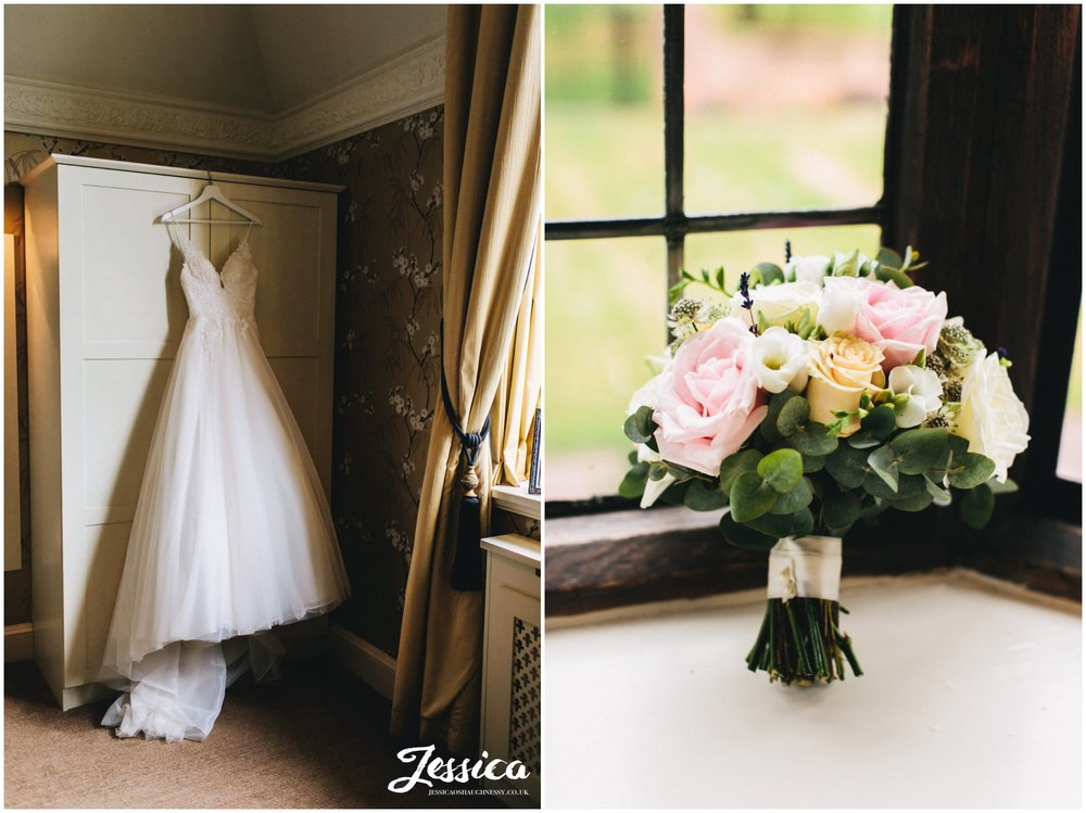 wedding dress and bridal bouquet in inglewood manor