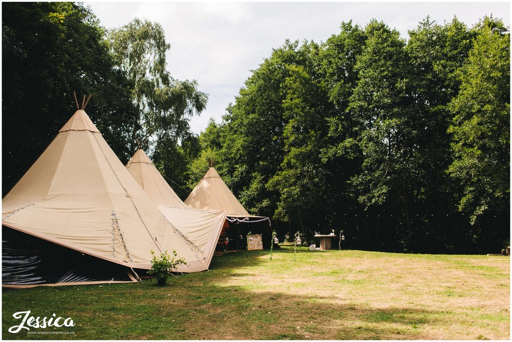 tipi set up at stonyford cottage gardens for the reception