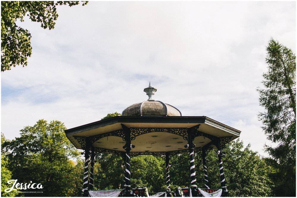 the band stand dressed ready for the wedding ceremony