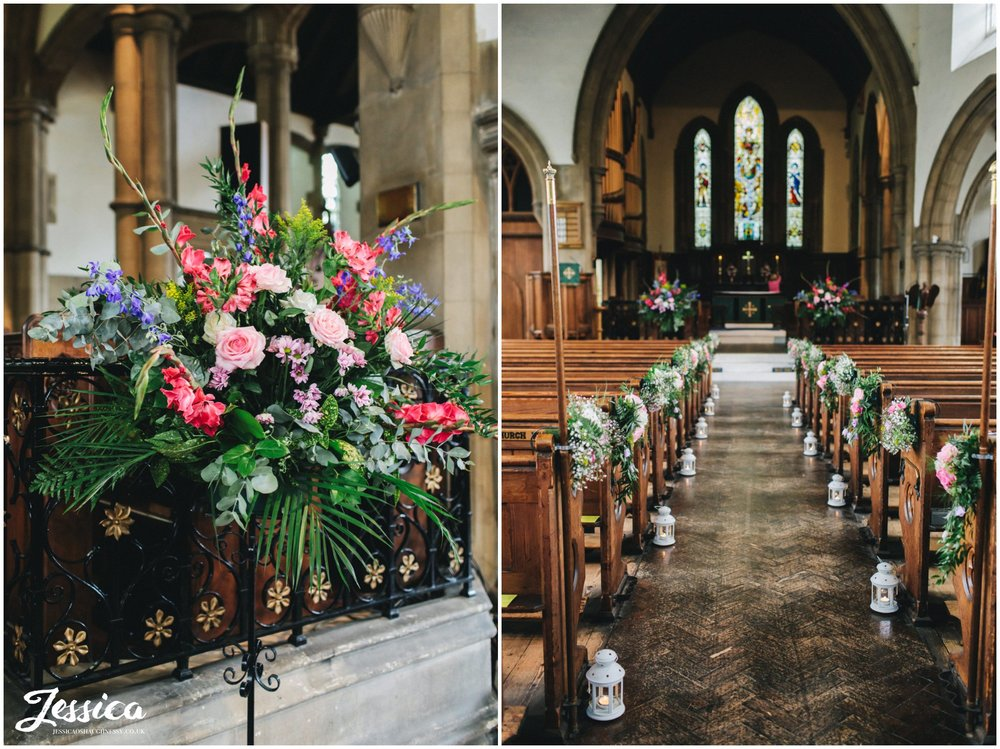 brighly coloured flowers decorate the church