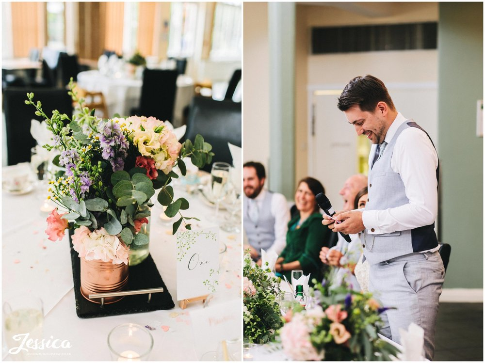 flowers decorate the tables whilst guests enjoy the speeches