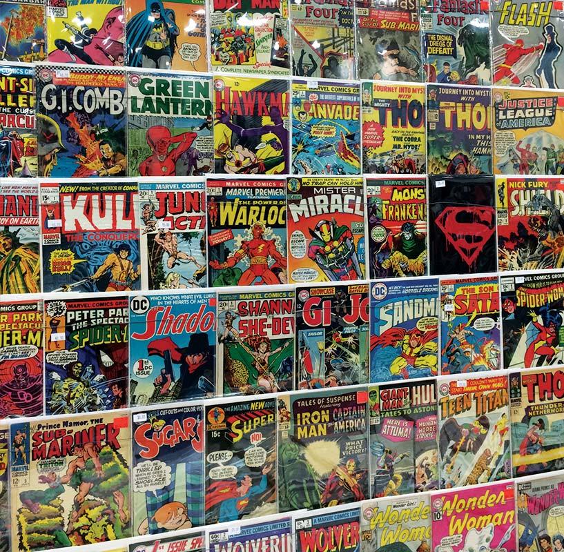 Walls and walls of comics books.